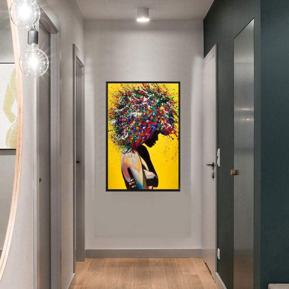 nobrand Bunte Graffiti Wandkunst Leinwand Malerei Poster Drucke Afro Big Hair Frauen Leinwand /Ölgem/älde Wandbilder f/ür Wohnzimmer No Frame-50X70cm