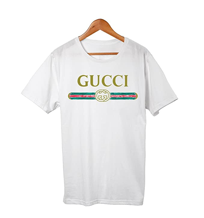 Gucci Vintage Sketch Stripe Design Front Logo Tshirt Tee White by Unknown