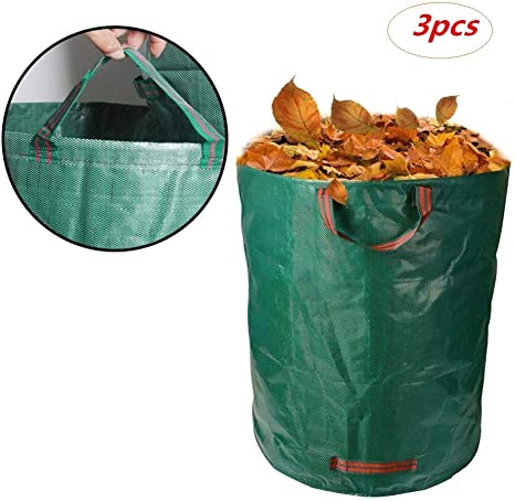 JHKJ 272L Bolsas Grandes para desechos de jardín Paquete de 3 (H76 cm, D67 cm), Sacos de Basura de PP duraderos, Reutilizables e Impermeables con Asas, Bolsas de Hierba para malezas: Amazon.es:
