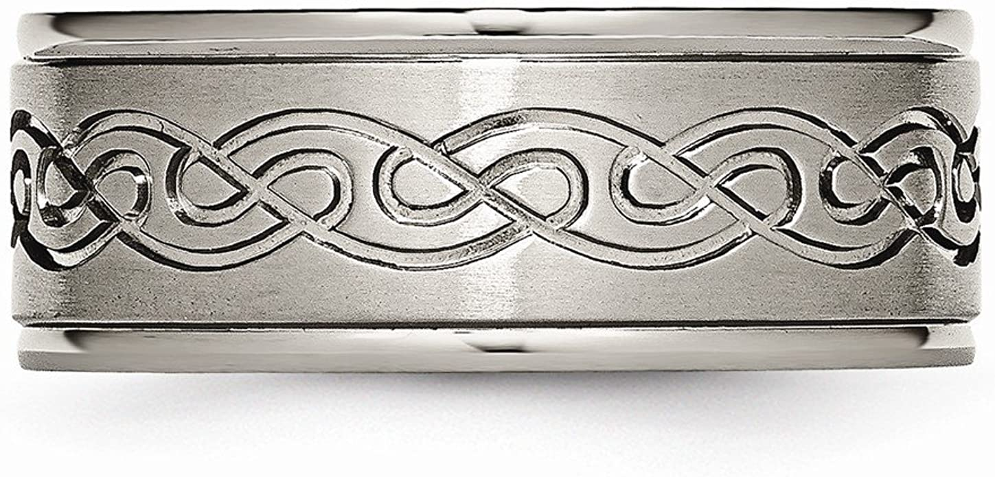 Best Quality Free Gift Box Titanium 9mm Scroll Design Brushed And Polished Band
