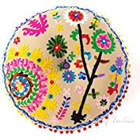 Eyes of India - 24 Round Beige Brown Decorative Floor Cushion Seating Meditation Pillow Cover Throw Boho Bohemian Indian