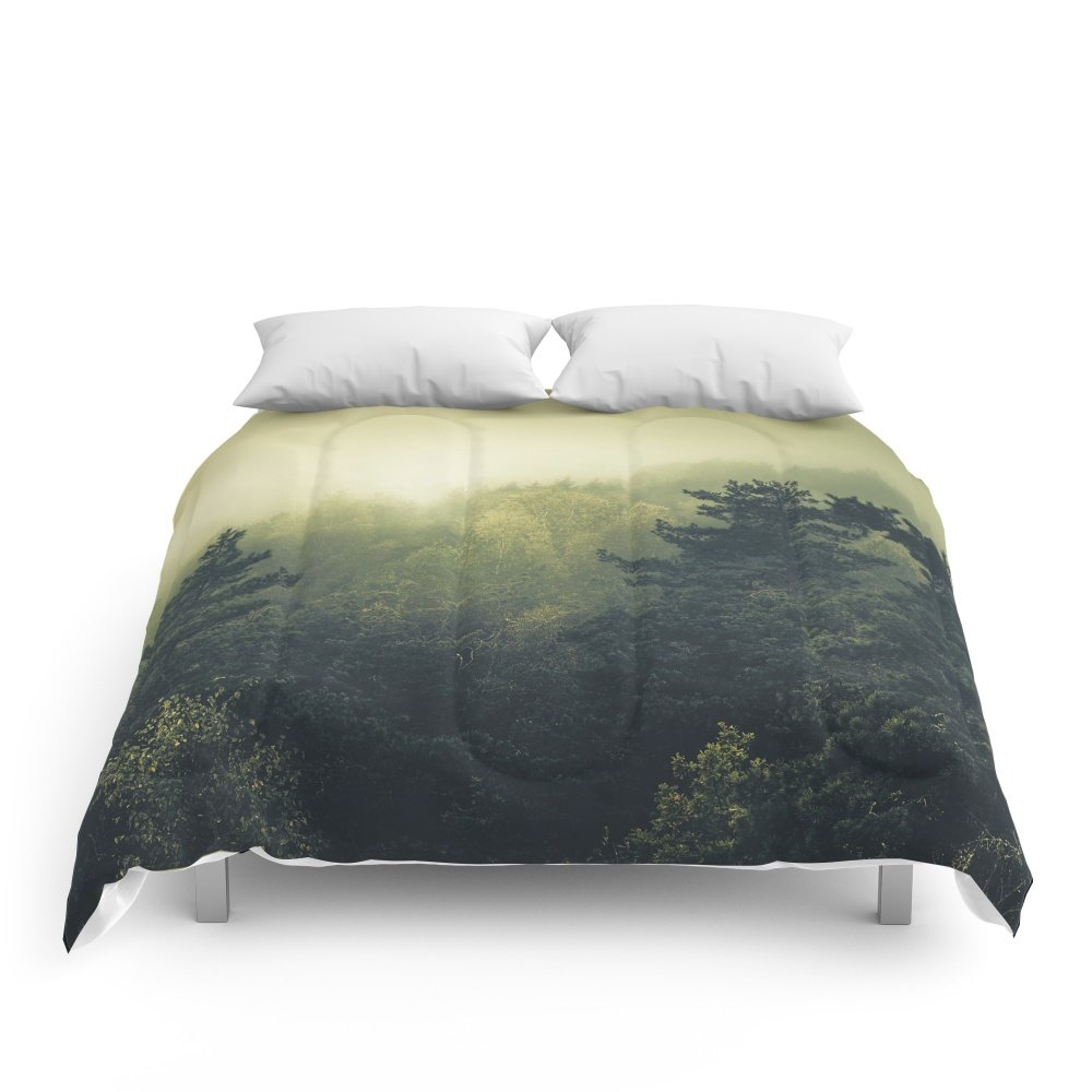 """Society6 Forests Never Sleep Comforters Queen: 88"""" x 88"""""""
