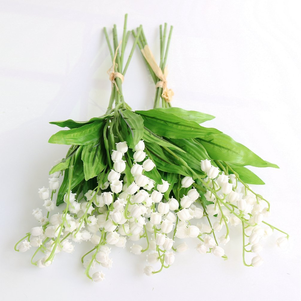 Amazon htmeing artificial lily of the valley flowers bush for amazon htmeing artificial lily of the valley flowers bush for home garden wedding decoration 12pcs home kitchen izmirmasajfo