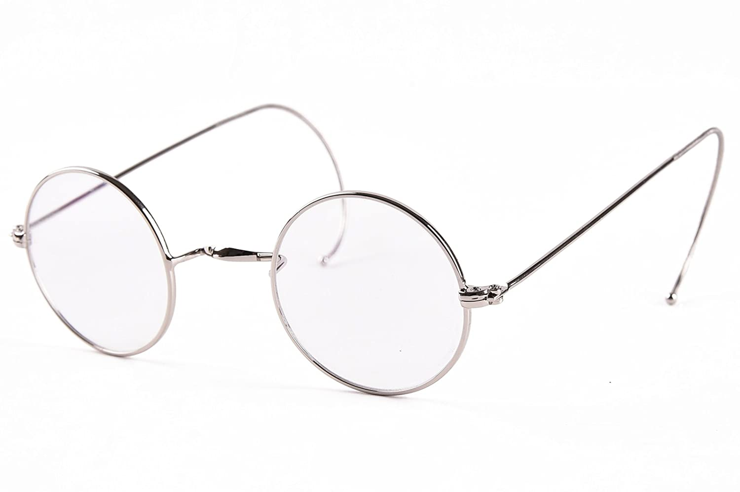 amazoncom agstum retro small round optical rare wire rim eyeglasses frame 39mm gold 39mm clothing - Wire Frame Glasses