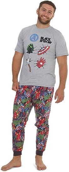 Marvel Conjunto de Pijamas para Hombres Black Widow   Ropa de Dormir de Manga Corta Algodón   Pijama de Hombre Loungewear con Camiseta y Pantalones Cómodo: Amazon.es: Ropa y accesorios