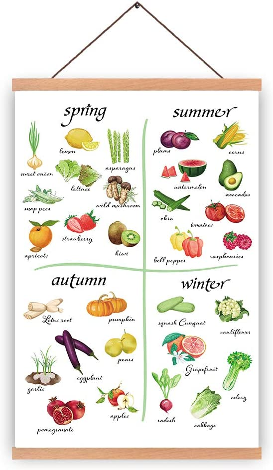 HPNIUB Natural Wood Magnetic Hanger Frame Poster-Fruit Vegetable Canvas Art Spring Summer Autumn Winter Prints Food Painting, Kitchen Wall Art Poster 28X45cm Frames Hanging Kit