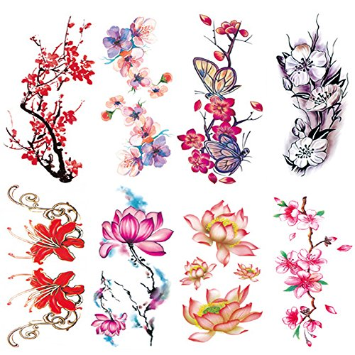 Flowers Temporary Tattoos for Women Sexy 8 Pcs by Qufan,Large Tattoo Sticker Fake Tattoos for Kids Girls Teens,Waterproof and Long Lasting Sexy Body Tattoos - Peony Flower,Plum Blossoms, Lotus, Rose