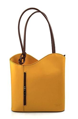 Borsa pelle donna zaino con manici a spalla giallo marrone