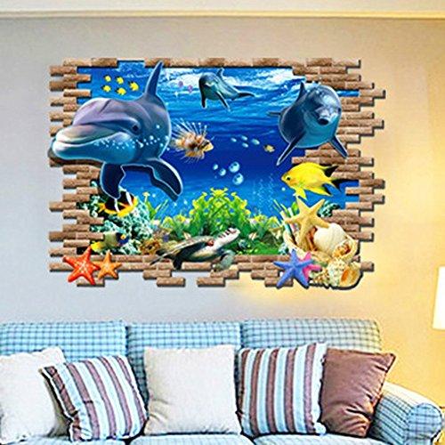 Ducklingup Halloween Horrible 3D Broken Wall Hole Bricks Wall Art Mural Posters Dolphin Underwater Aquarium Wall Stickers (D)