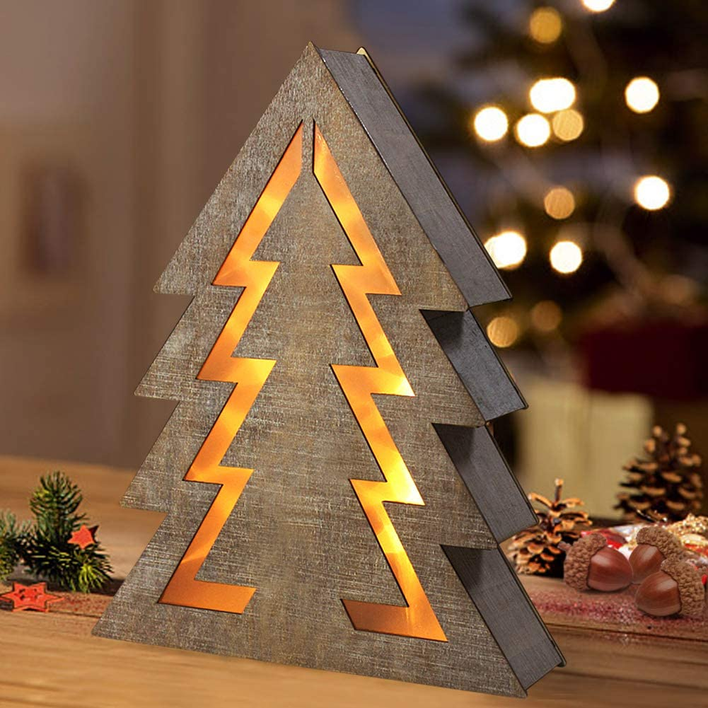 Bright Zeal 15 LED Wooden Fir Christmas Tree Light Battery Operated - Wooden Fir Shaped Christmas Tree with LED Lights Tabletop Decor - Indoor Fir Christmas Decorations for Dining Room Table D cor
