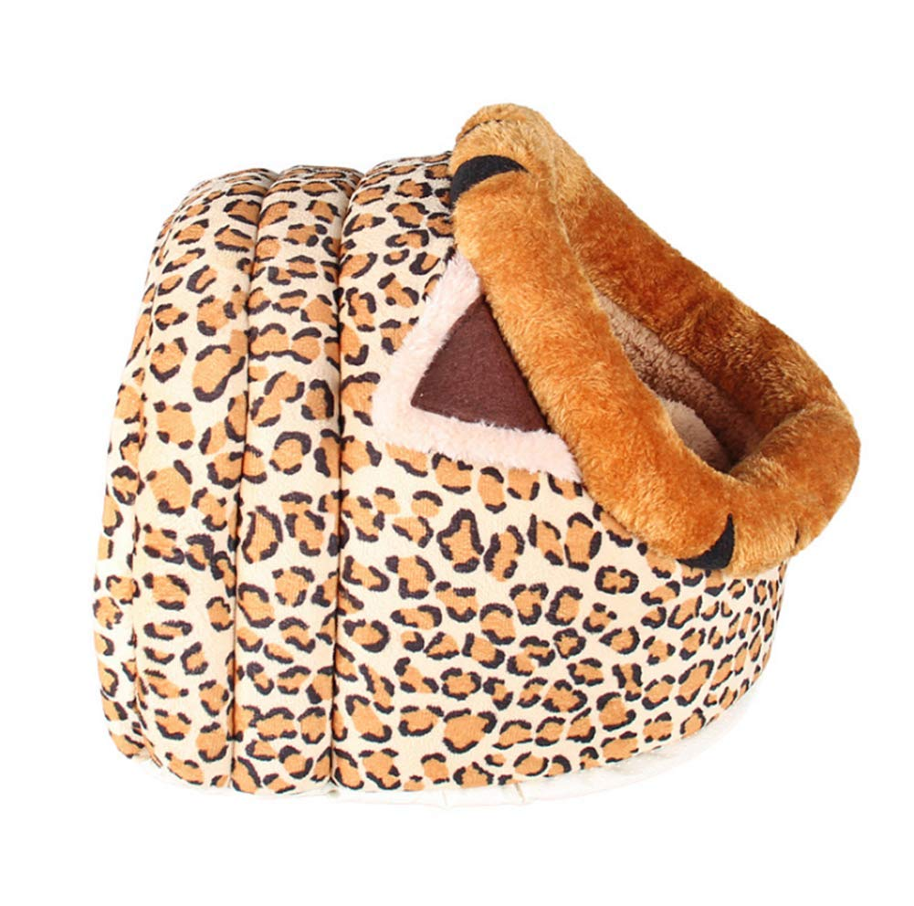 Large Pet Supplies New Leopard Short Plush Kennel Winter Warm Cat Litter Removable and Washable