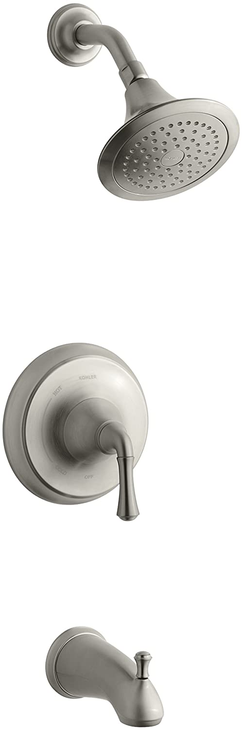 KOHLER K-T10275-4-BN Forte Rite-Temp Pressure-Balancing Bath and Shower Faucet Trim, Vibrant Brushed Nickel (valve not included)