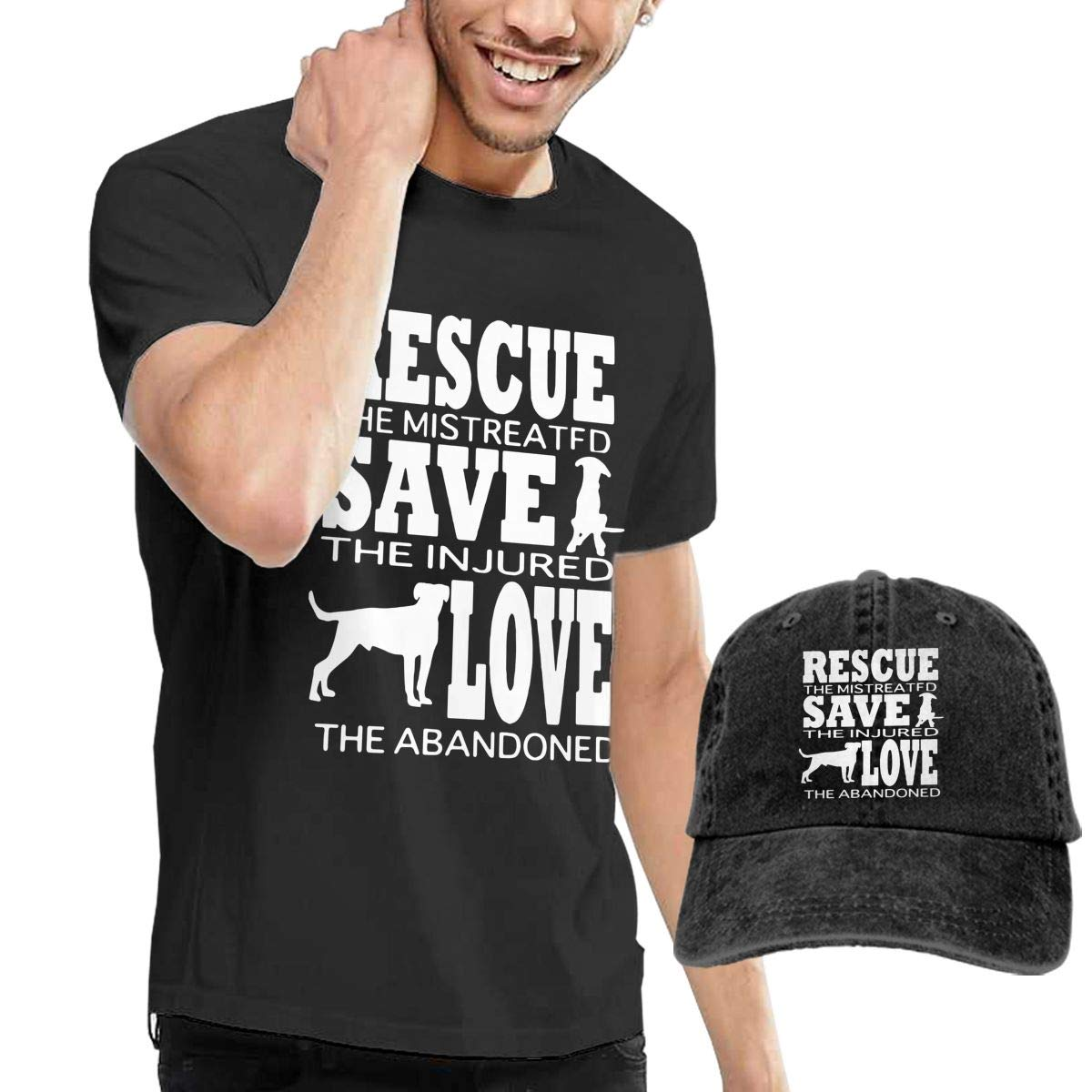 Dog Rescue Animal Cat Rescue Adult Mens Fashion T-Shirts and Sports Jean Headgear
