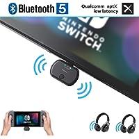 Golvery Adaptador de Audio inalámbrico para Nintendo Switch y PC, transmisor Tipo C/USB Bluetooth 5.0, Plug & Play, sin Sonido, Carga de Alta Velocidad de PD de Paso, Soporte en el Chat del Juego