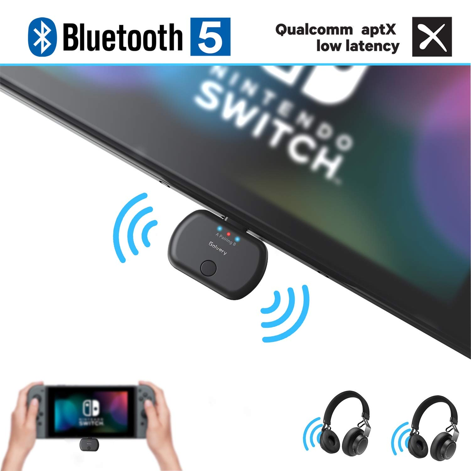 Golvery Wireless Audio Adapter for Nintendo Switch & PC, Type C/USB Bluetooth 5.0 Transmitter, Plug & Play, No Sound Lag, Pass-Through PD High Speed Charging, Support In Game Voice Chat by Golvery