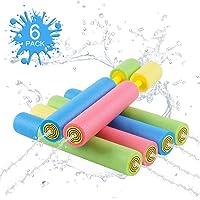 HonShoop Water Guns for Kids, 6Pcs Foam Water Blasters Set for Boys/Girls Playing