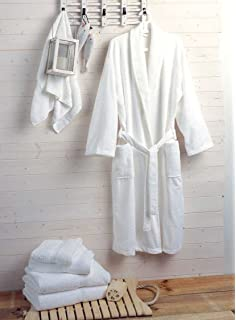 4c1580d624 Hotel and Spa Quality Luxury Towelling Bathrobe 400gms 100% Cotton - White