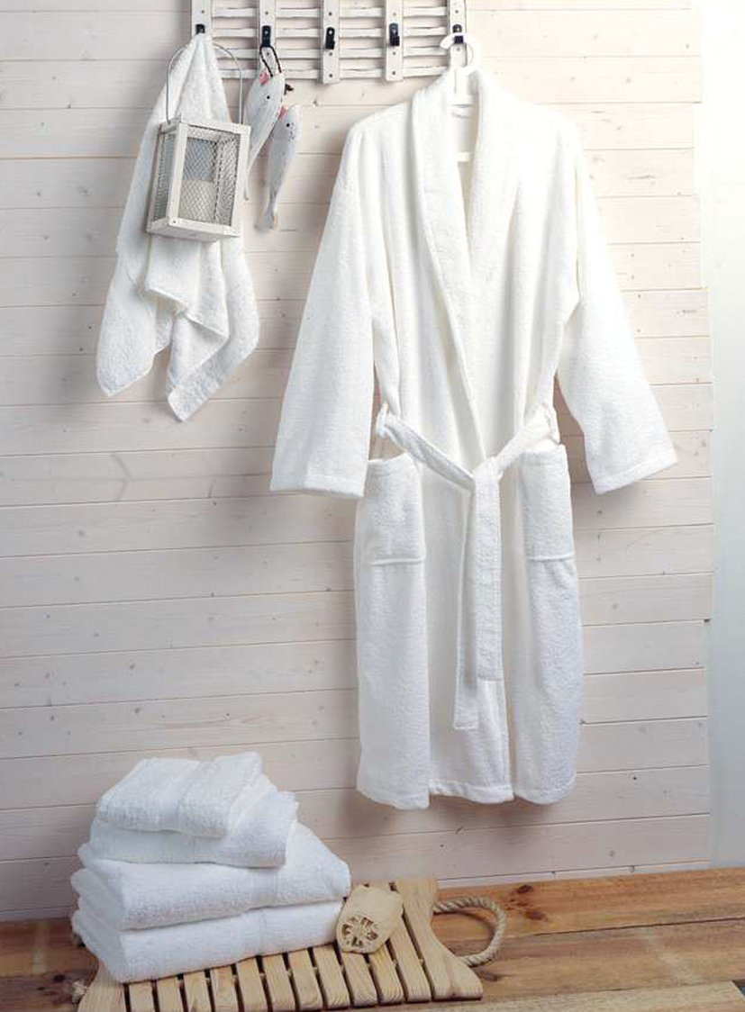 Hotel and Spa Quality Luxury Towelling Bathrobe 400gms 100% Cotton - White