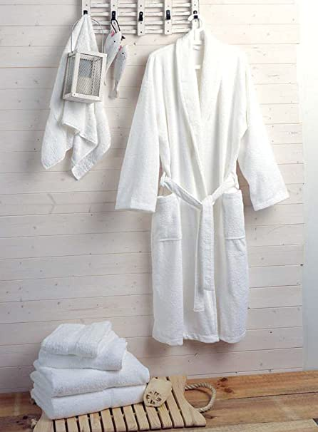 360d2b7638 Hotel and Spa Quality Luxury Towelling Bathrobe 400gms 100% Cotton - White   Amazon.co.uk  Kitchen   Home