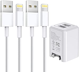 [Apple MFi Certified] iPhone Charger, Stuffcool Dual Port Wall Charger with Foldable Plug & 2 Pack 6FT Lightning Cable Fast Charging Data Sync Transfer Cord Compatible with iPhone 12/11/XS/XR/X 8/iPad