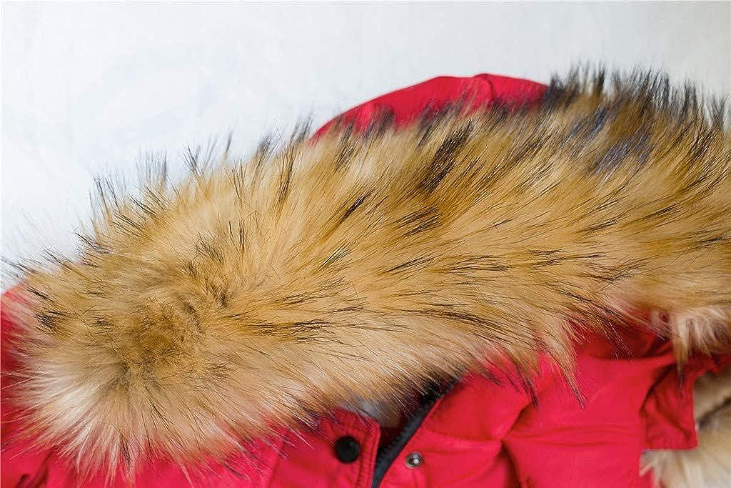 FTXJ Kids Girls Winter Faux Fur Hooded Parka Down Coat Puffer Jacket Padded Overcoat