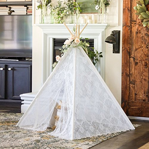 Kids Teepee Tent Girls Indoor Outdoor Children Play Tent , 5' Boho Lace Tipi -