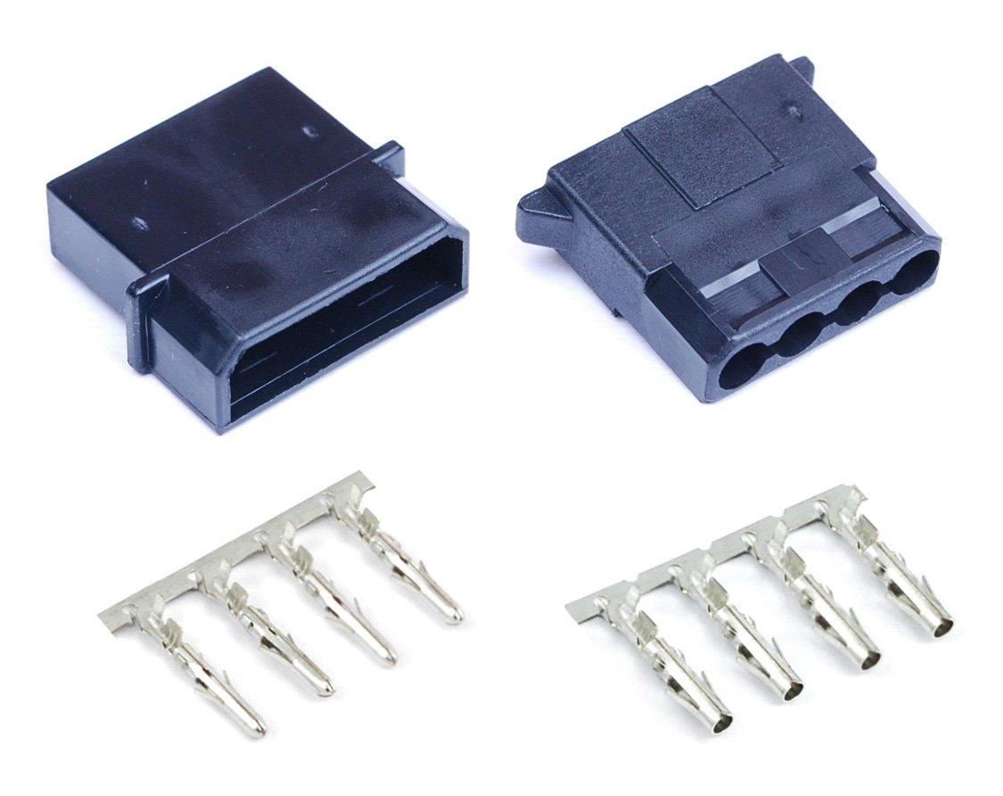 Connecteur Molex avec 4 broches noir, mâ le et femelle pour alimentation é lectrique de PC portable Shakmods