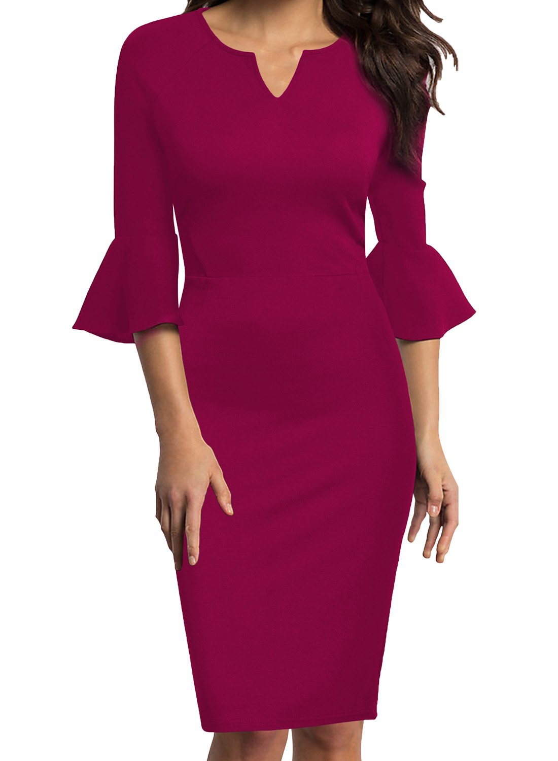 WOOSUNZE Womens Flounce Bell Sleeve Office Work Casual Pencil Dress (Magenta, Small)