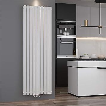 ELEGANT Design Paneelheizkörper Röhren 1800 x 590 mm Weiß Doppellagig  Badheizkörper Mittelanschluss Vertikal Röhren Heizkörper