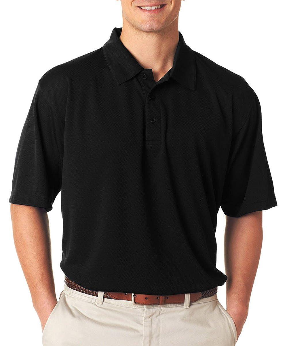 UltraClub Mens Performance Polo Shirt Black Pack of 10 Medium.