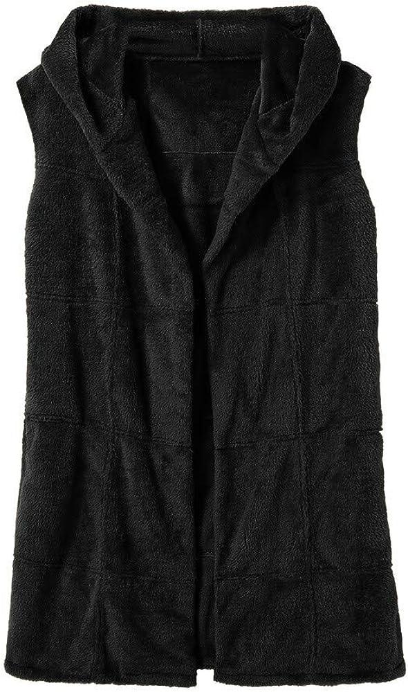 Damen Faux Pelz Weste /Ärmellose Lange Jacke Vest Kunstpelz mit Kapuzen Winter Herbst Pelzmantel Fellweste M/äntel