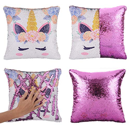 - Xiaowli Mermaid Pillow Cover, Unicorn Gifts for Girls Sequin Pillow Cover Throw Cushion Case Decorative Pillowcase That Change Color (Unicorn E -Purple Sequin)