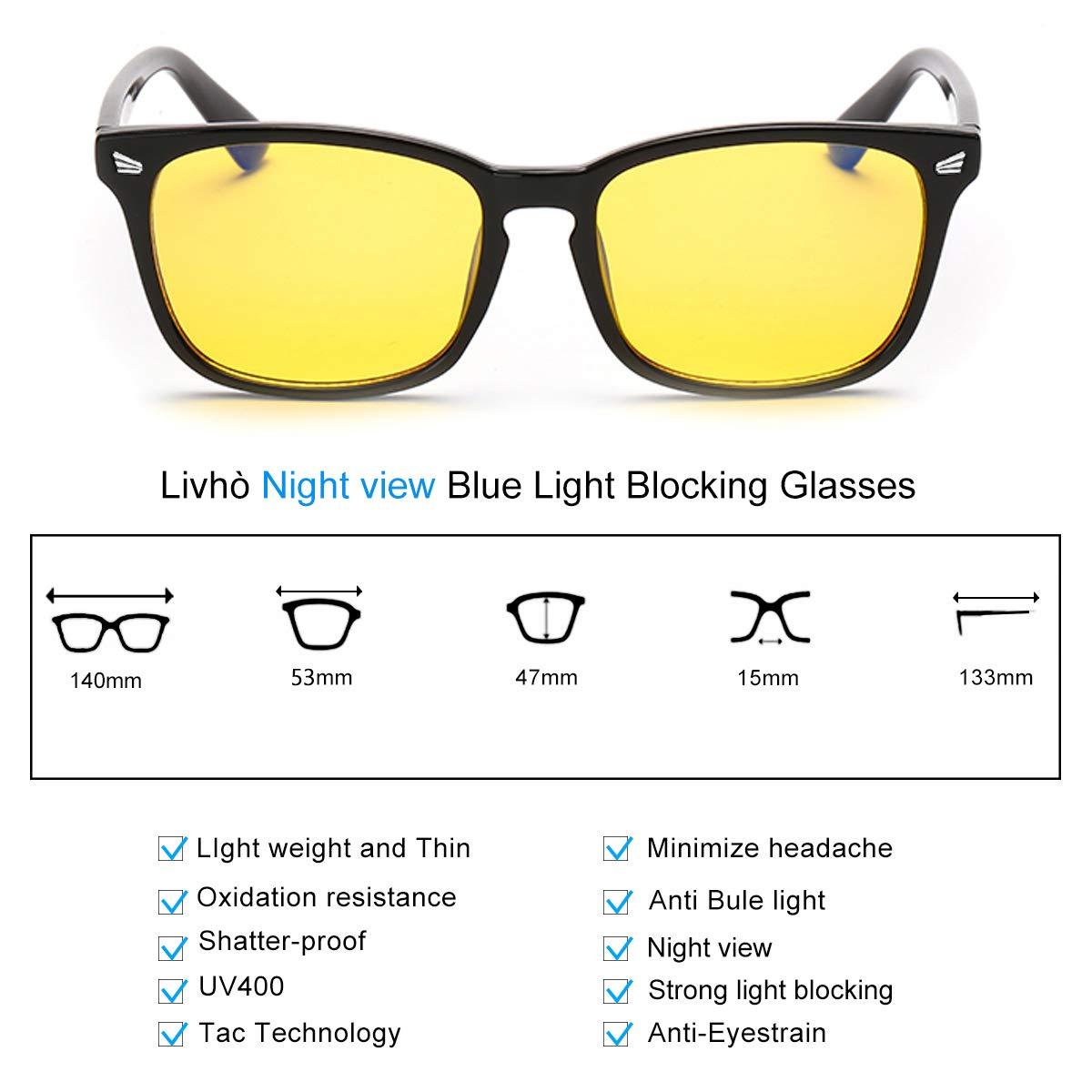 756e0df977ab Amazon.com  Livho HD Night Vision Driving Glasses Anti-Glare Blue Light  Blocking   Computer Gaming Glasses for Men Women - Prevent Digital  Eyestrain  Health ...