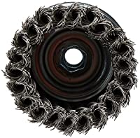 "DEWALT DW4916 4"" Knotted Cup Brush/Carbon Steel 5/8""-11 Arbor .020"""