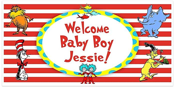 Amazon Dr Seuss Cat In The Hat Baby Shower Banner Personalized