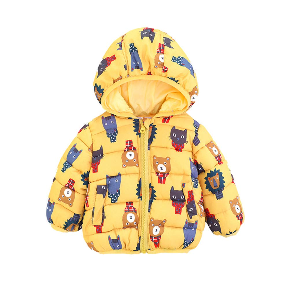 KONFA Toddler Newborn Baby Boys Girls Winter Warm Clothes,Cartoon Animals Hooded Jacket Cotton Coat,for 0-24 Months Kids