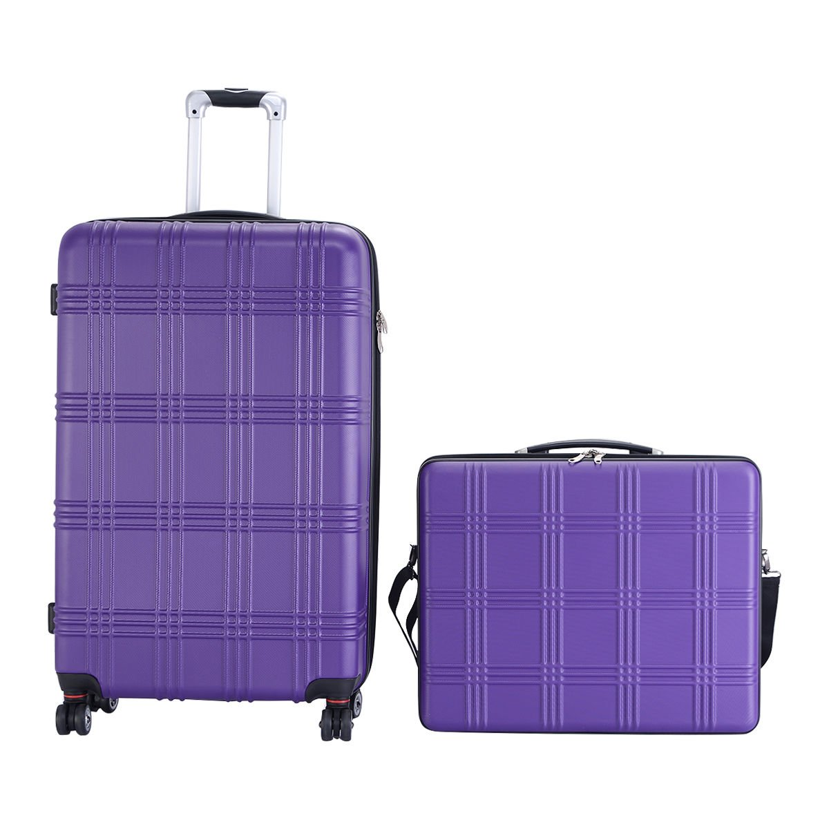 Purple Travel Lugguage Set of 2 Bags ABS Trolley Suitcase With Ebook