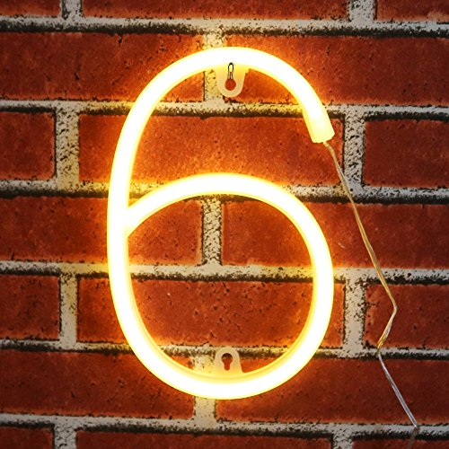 Alphabet Lamp (Neon Number Sign Wall Decorative Neon Lights Warm White Alphabet Letter Lights Night Lamp for House Bar Pub Hotel Beach Recreational, Kids Room, Living Room, Birthday Wedding Party Decor - 6 (Six))