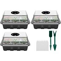 BSTOB Greenhouse Propagation Box, 12 Cells Mini Greenhouse Propagation Tray Set with Adjustment Ventilation Window