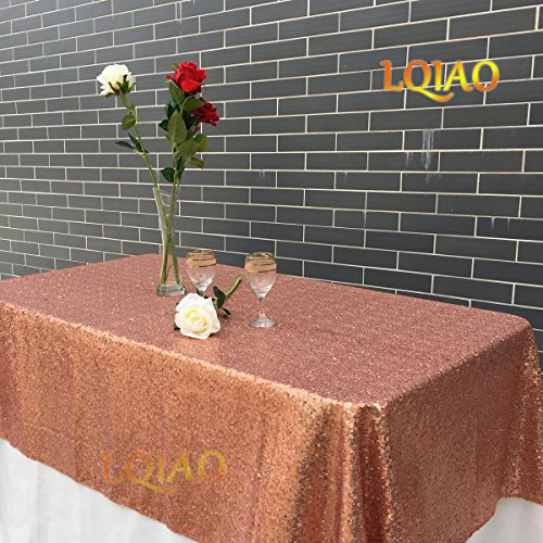 Burgundy Elegance Square Tablecloth (LQIAO 120x200cm Rose Gold-Sequins Table Cloth, Luxurious Rectangle Sequin Tablecloth, Sparkly Wedding/Christmas Decoration, Rose Gold)
