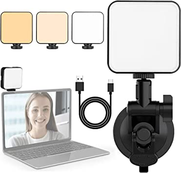 Video Conferencing Laptop Computer Light Kits for Remote Working Zoom Calls Self Broadcasting and Live Streaming with Suction Cup Cube Mounts and Sturdy Clip Webcam Light Video Conference Lighting