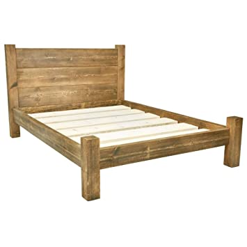 Funky Chunky Furniture Chunky Wooden Bed Frame with Treble Plank ...