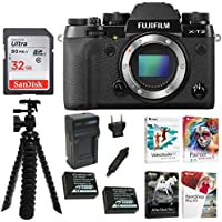 Fujifilm X-T2 Digital Camera Body (Black) w/2 Rechargeable Batteries + Corel Software, Tripod & Focus Accesso