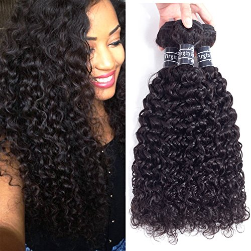 Amella Hair Brazilian Curly Hair Weave 3 Bundles (14 16 18,300g) Brazilian Virgin Kinky Curly Human...