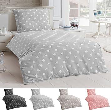 Bettwäsche Microfaser Bettbezug 135x200 Sterne Kissenbezug Grau
