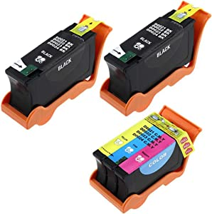 RIGHTINK 3Pack (2Black 1Color) Compatible High Yield Ink Cartridges for Dell Series 21 22 23 24 Replacement for P513w P713w V313 V715w v515w Printers