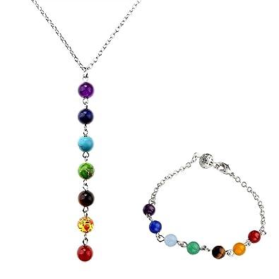 3ca90b952f565 Jovivi 7 Pierres Chakras Bracelet Gemstone Chakras Reiki Healing Point  Perles Poignet Chaine de Main +