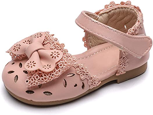 DEBAIJIA Baby Girl Princess Shoes Child Girls Hollow-Carved Design Bowknot Heart Giraffe Pattern Rubber Sole Anti-Slip Leather Fashion Casual Suitable for 1-3 Years Infant Toddler Magic Tape