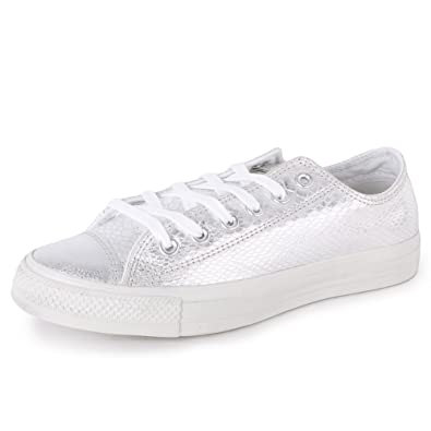 Converse Chuck Taylor All Star Elevated Glam Ox 542440C Womens Laced Suede Trainers  Silver - 8  Amazon.co.uk  Shoes   Bags fca2d374b