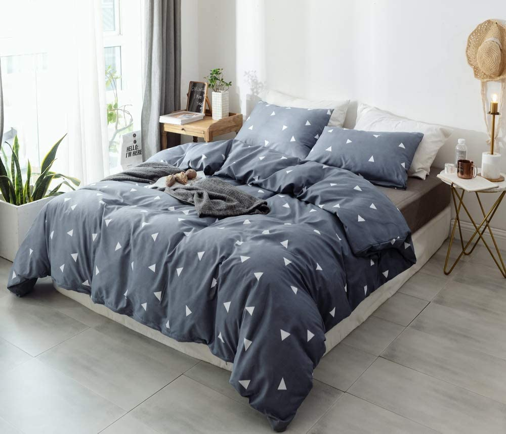 Janzaa 3pcs Queen Comforter Set 3pcs, Queen Size Soft Microfiber Bedding Set with 2 Pillow Cases Marble Pattern Printed on White